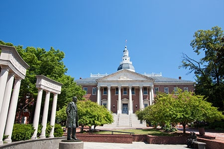 Exterior of Maryland State House with Blue Sky Background in Annapolis, Maryland